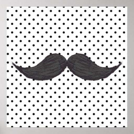 Dessin drôle de moustache et pois noir posters