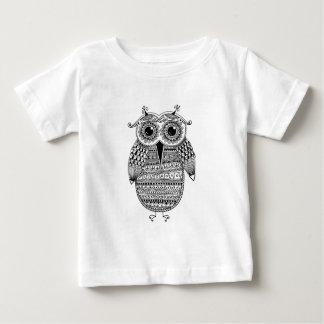 Dessin ethnique d'encre de hibou t-shirt pour bébé