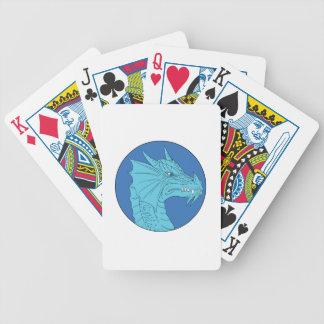 Dessin fâché de cercle de tête bleue de dragon jeu de poker
