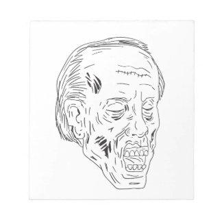 Dessin fermé de yeux principaux de zombi bloc-note