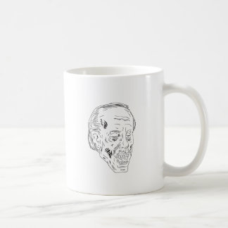 Dessin fermé de yeux principaux de zombi mug