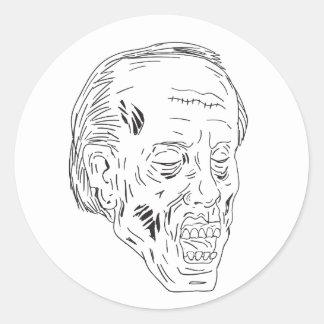 Dessin fermé de yeux principaux de zombi sticker rond