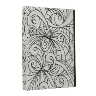 dessin floral de griffonnage de cas de Caseable Étuis iPad Folio