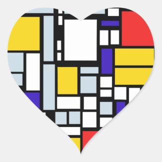 Dessin géométrique moderne, couleurs primaires sticker cœur