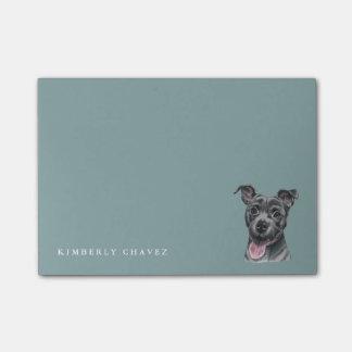 Dessin gris heureux de chien de pitbull