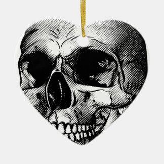 Dessin humain de crâne ornement cœur en céramique