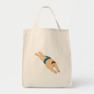Dessin japonais de plongée de lutteur de sumo sacs fourre-tout