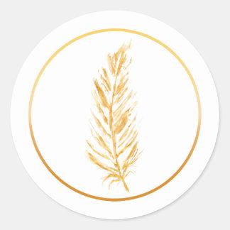 Dessin jaune d'or de plume de couleur de Faux Sticker Rond