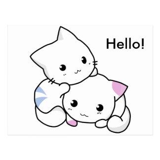 Dessin mignon de chaton de garçon et de fille dans cartes postales