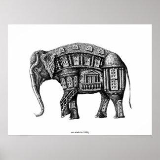 Dessin noir et blanc d'encre de stylo de bâtiment  affiches