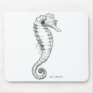 Dessin noir et blanc d'hippocampe tapis de souris