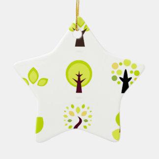Dessin original de bio arbres : T-shirts Ornement Étoile En Céramique