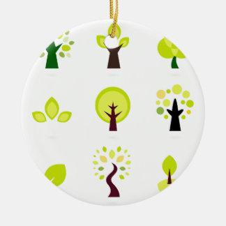 Dessin original de bio arbres : T-shirts Ornement Rond En Céramique