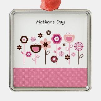 Dessin original de jour de mères ornement carré argenté