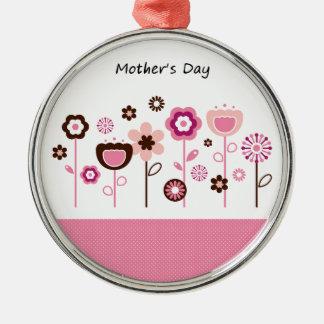 Dessin original de jour de mères ornement rond argenté