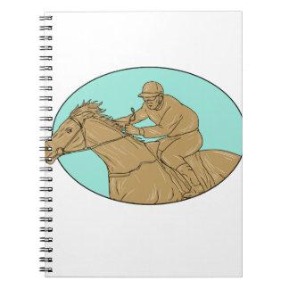 Dessin ovale de course de chevaux de jockey carnet