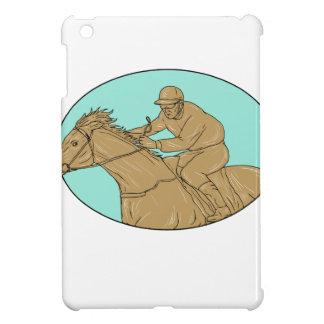 Dessin ovale de course de chevaux de jockey coques pour iPad mini