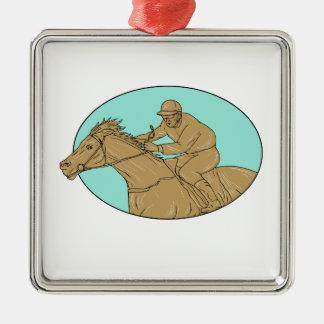 Dessin ovale de course de chevaux de jockey ornement carré argenté