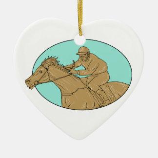 Dessin ovale de course de chevaux de jockey ornement cœur en céramique