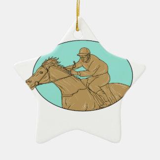 Dessin ovale de course de chevaux de jockey ornement étoile en céramique