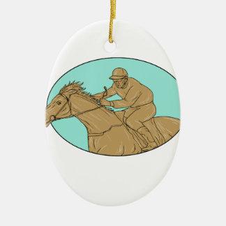 Dessin ovale de course de chevaux de jockey ornement ovale en céramique