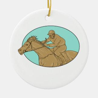 Dessin ovale de course de chevaux de jockey ornement rond en céramique