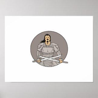 Dessin ovale de guerrier d'épées samouraïs fâchées posters