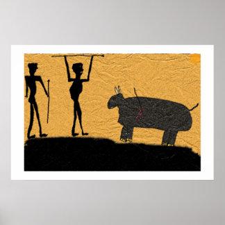Dessin préhistorique de caverne d'une chasse posters