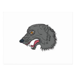 Dessin principal de grognement de loup gris carte postale