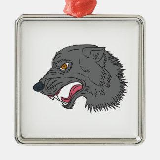 Dessin principal de grognement de loup gris ornement carré argenté