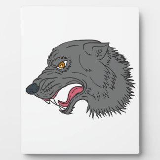 Dessin principal de grognement de loup gris plaque photo