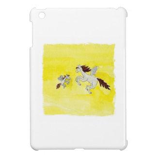 Dessin puéril d'aquarelle avec les chevaux à ailes coque iPad mini
