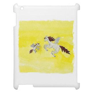 Dessin puéril d'aquarelle avec les chevaux à ailes coque pour iPad