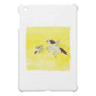 Dessin puéril d'aquarelle avec les chevaux à ailes coques iPad mini
