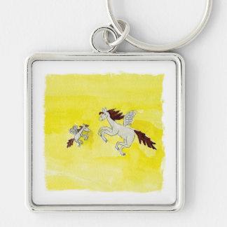 Dessin puéril d'aquarelle avec les chevaux à ailes porte-clés