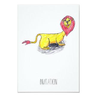 Dessin puéril dirigé rouge de lion carton d'invitation 8,89 cm x 12,70 cm