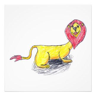 Dessin puéril dirigé rouge de lion impression photo