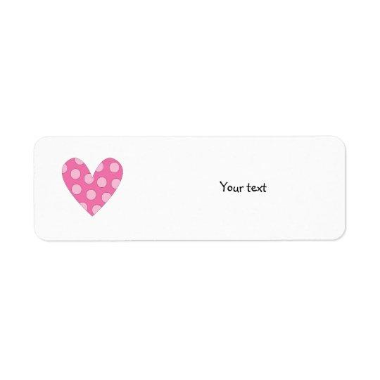 Dessin rose romantique de coeur étiquette d'adresse retour