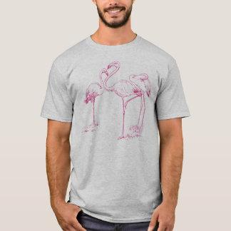 Dessin rose vintage de flamant t-shirt