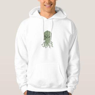 Dessin souterrain de tête de monstre de mer veste à capuche