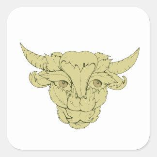 Dessin vert de vache à Taureau Sticker Carré