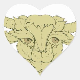 Dessin vert de vache à Taureau Sticker Cœur