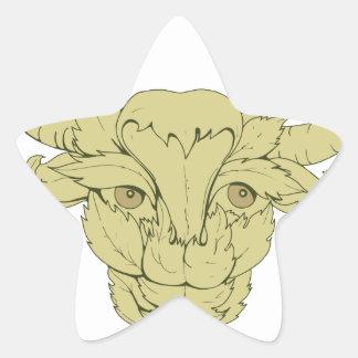 Dessin vert de vache à Taureau Sticker Étoile