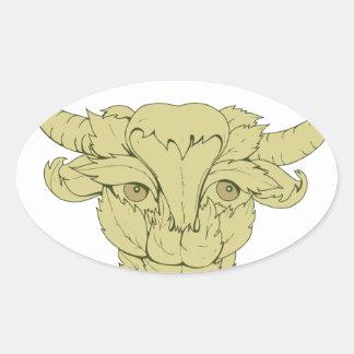 Dessin vert de vache à Taureau Sticker Ovale