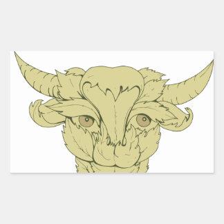 Dessin vert de vache à Taureau Sticker Rectangulaire
