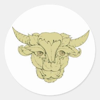 Dessin vert de vache à Taureau Sticker Rond