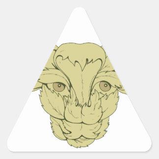 Dessin vert de vache à Taureau Sticker Triangulaire