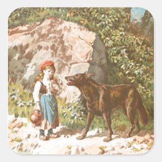 Dessin vintage : Capuchon rouge et le loup Sticker Carré