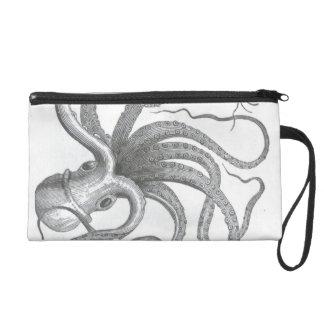 Dessin vintage de livre de poulpe nautique de sac à main avec dragonne