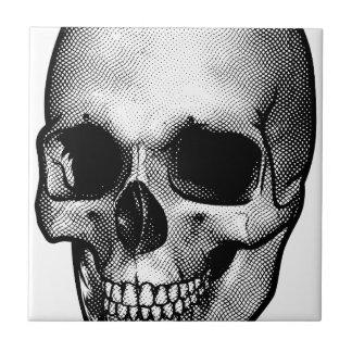 Dessin vintage de style de crâne petit carreau carré
